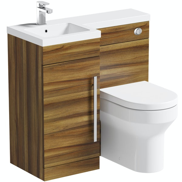 MySpace Walnut left handed unit with Oakley back to wall toilet