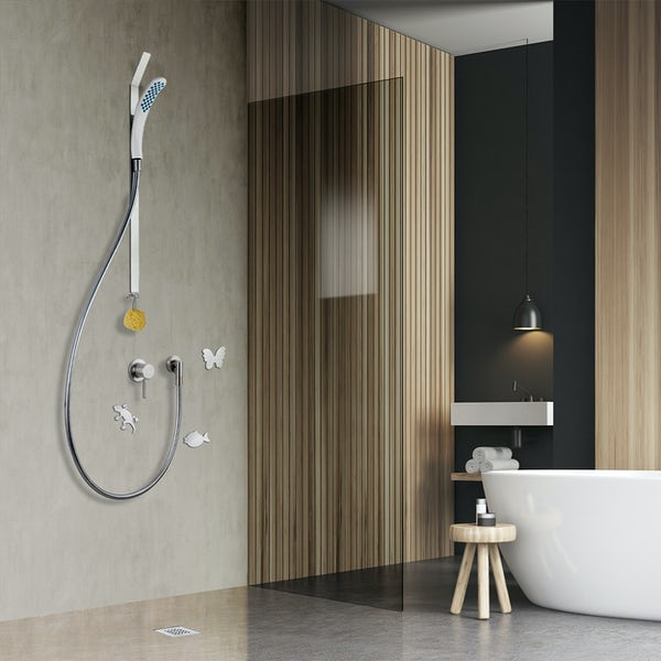 Clarity easy install magnetic shower and riser rail with adhesive pads and round mounting plate