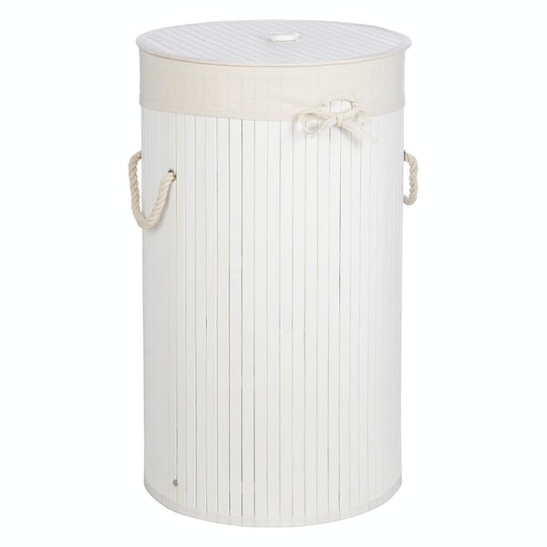 Accents Natural bamboo white round laundry basket