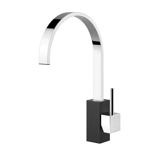 Tuscan Parrina chrome and black kitchen tap