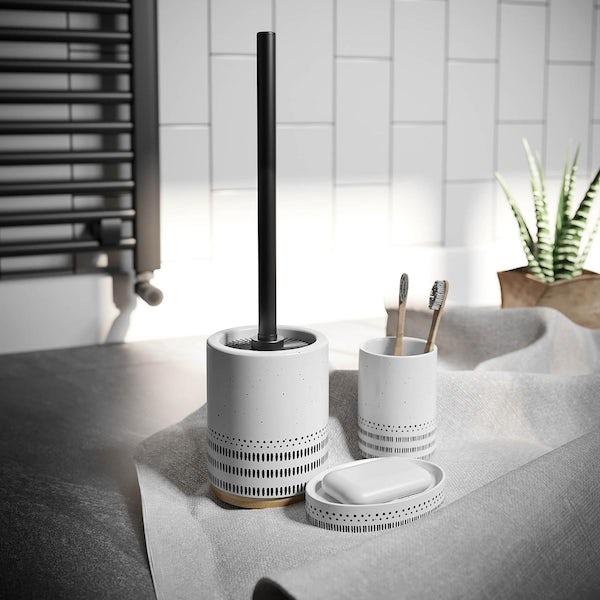 Accents Miami white ceramic 3 piece bathroom set with soap dish