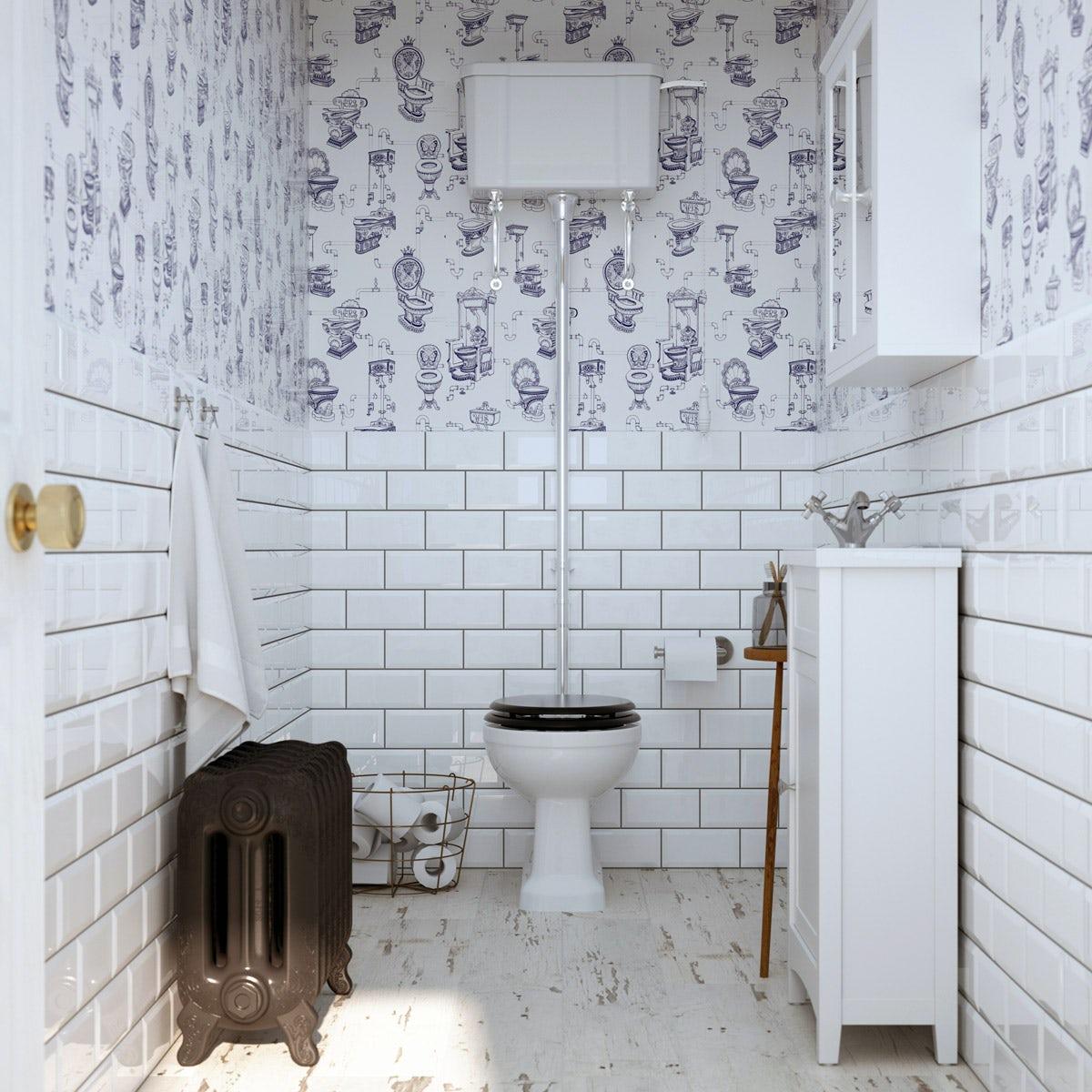 Graham Brown Loo Loo Blue White Wallpaper