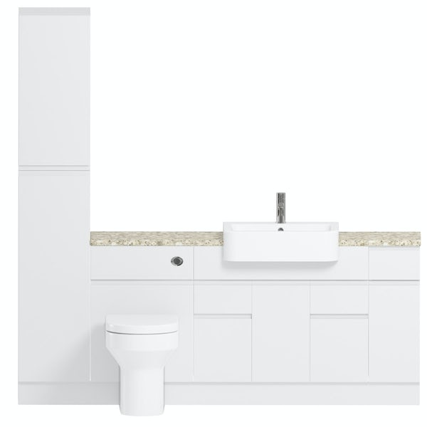 Reeves Wharfe white straight medium storage fitted furniture pack with beige worktop