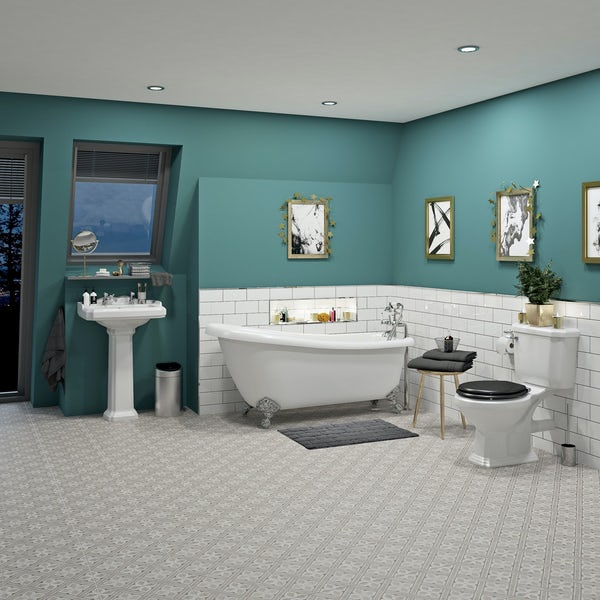 The Bath Co Winchester Complete Roll Top Bath Suite With Black Seat