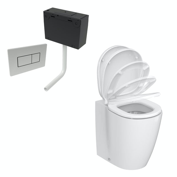 Ideal Standard Concept Freedom comfort height back to wall toilet with soft close seat and concealed cistern