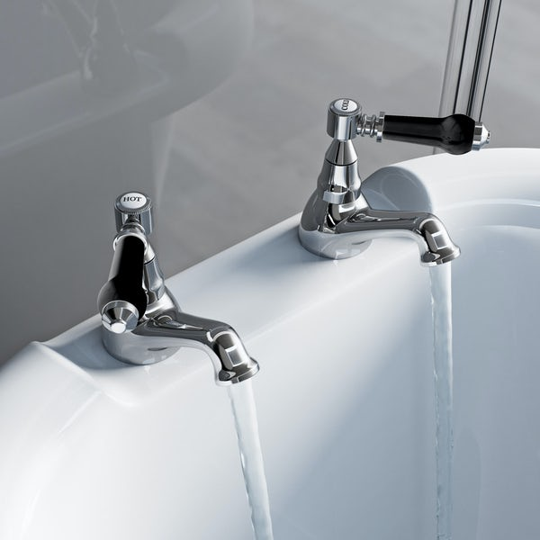 The Bath Co. Winchester bath pillar taps with black lever handle