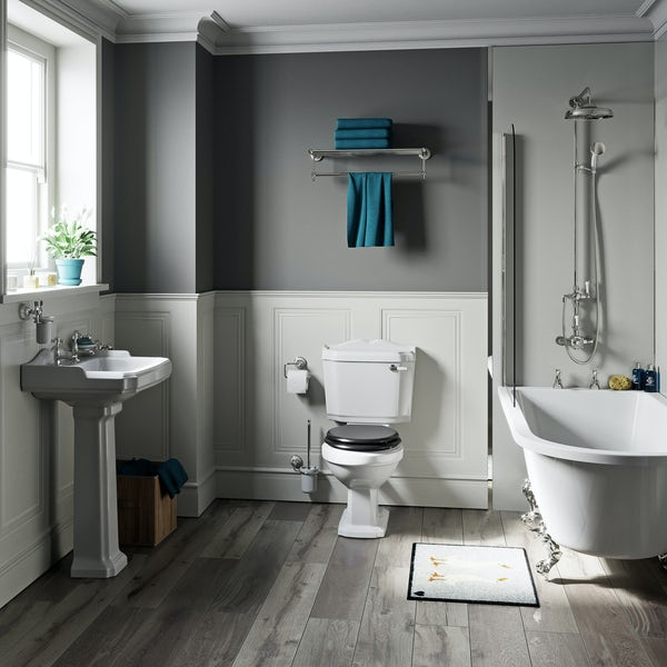 The Bath Co. Winchester black freestanding shower bath suite