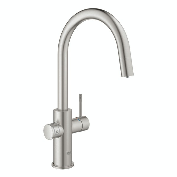 Grohe Blue Home Duo Supersteel C spout kitchen tap starter kit with pull-out spray