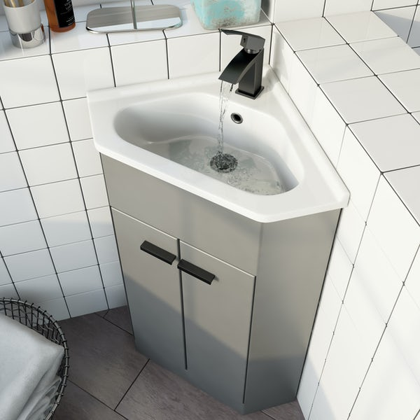 Clarity Compact satin grey corner floorstanding vanity unit and ceramic basin 580mm with tap and black handles