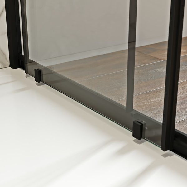 Mode 8mm matt black framed shower enclosure with barcode style modesty panel 1200 x 800mm