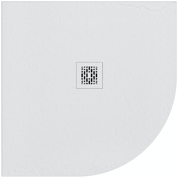Mode slate effect white quadrant shower tray 900 x 900 with colour matched waste cover