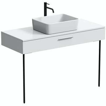 Mode Scher white countertop drawer unit and black steel legs 1200mm with Ellis countertop basin, tap, waste and trap