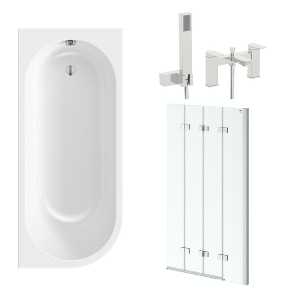 Orchard Elsdon right handed J shaped single ended shower bath 1700 with folding hinged shower bath screen and free tap