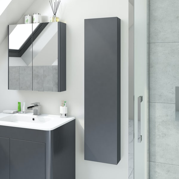 Accents Slimline slate gloss wall hung cabinet 1250 x 300mm