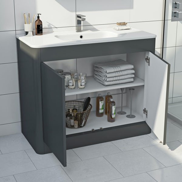 Mode Carter slate gloss grey furniture package with floorstanding vanity unit 1000mm