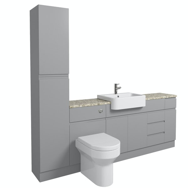 Orchard Wharfe slate matt grey straight large storage fitted furniture pack with beige worktop