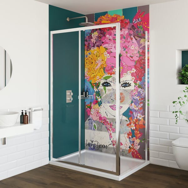 Louise Dear The Serenade Turquoise acrylic shower wall panel pack with rectangular enclosure