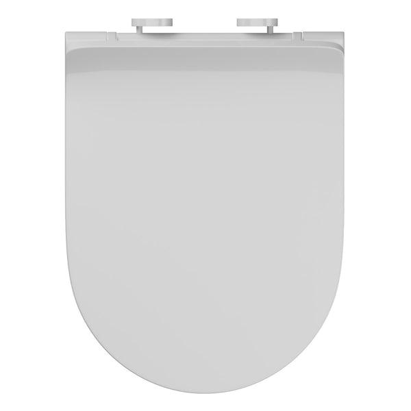 Accents white slim D-shape soft close toilet seat