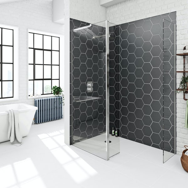 Mode 8mm spacious wet room panel pack with hinged return panel