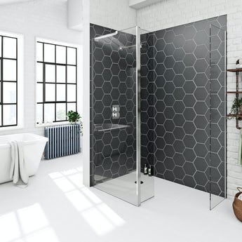 Mode 8mm spacious wet room panel pack with hinged return panel 1400 x 900