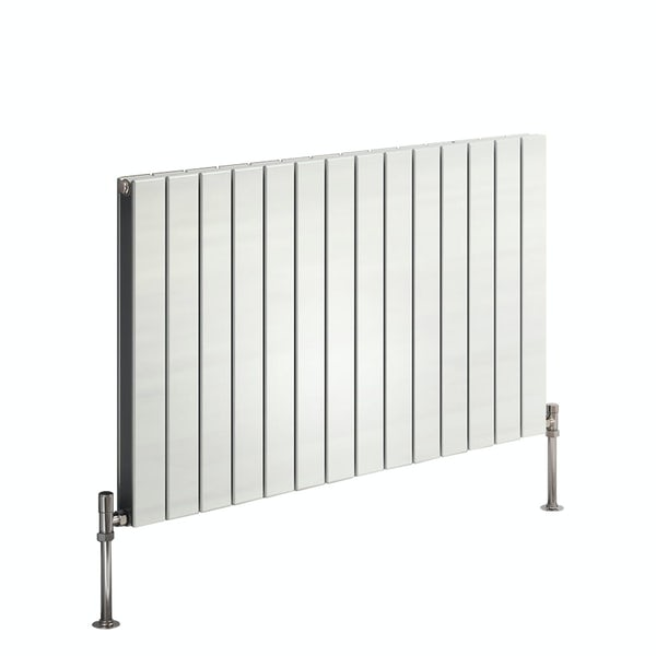 Reina Flat white horizontal double panel steel designer radiator