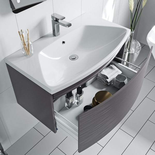 Mode Foster textured lava-stone matte brown wall hung vanity unit and basin 810mm