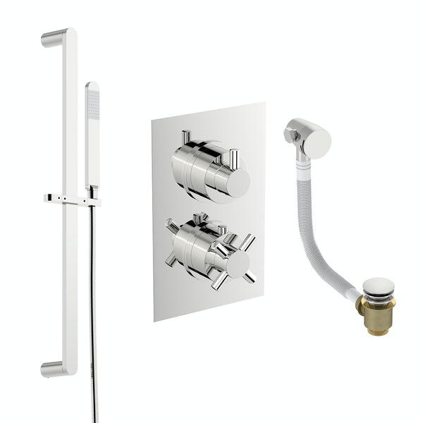 Mode Tate thermostatic shower valve with slider rail and bath filler