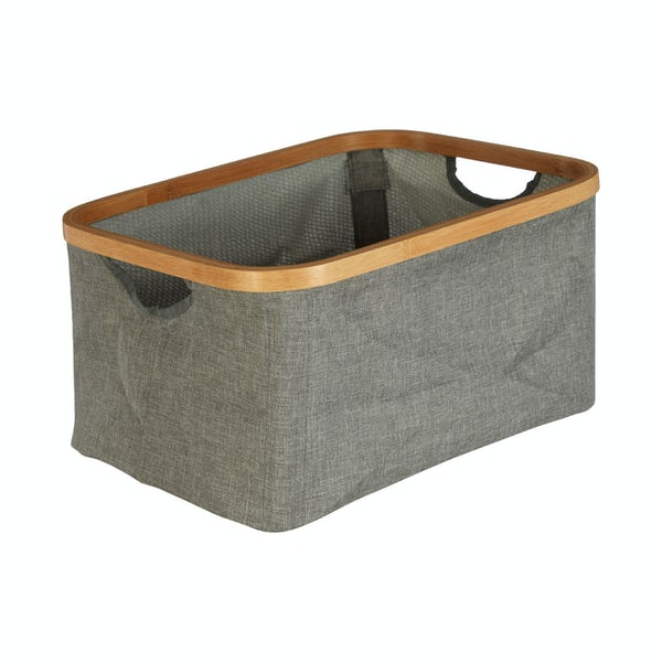 Carrick bamboo and grey fabric storage basket