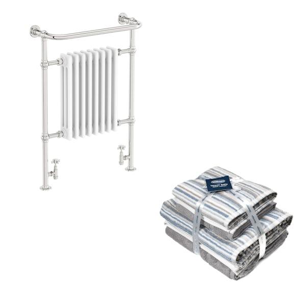 The Bath Co. Dulwich white traditional radiator 952x659 with Silentnight Zero twist grey 4 piece towel bale
