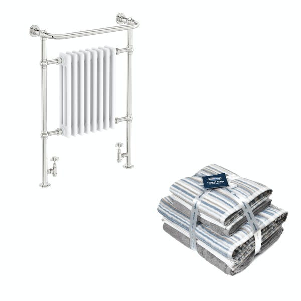 The Bath Co. Dulwich white traditional radiator 952x659 with Silentnight Zero twist grey 4 piece towel bale
