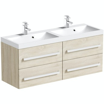 Orchard Wye oak wall hung double vanity unit and basin 1200mm