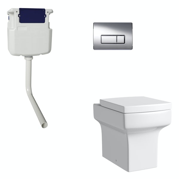 Orchard Wye back to wall toilet with soft close seat, concealed cistern and push plate
