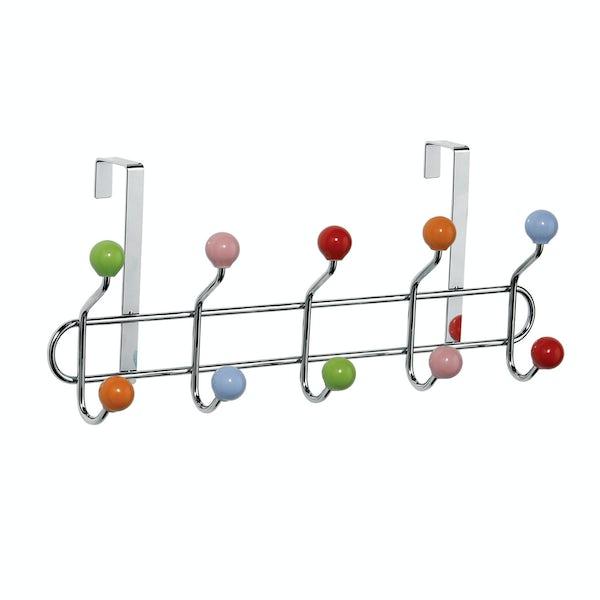 Chrome over door 10 hook hanger with multicoloured balls