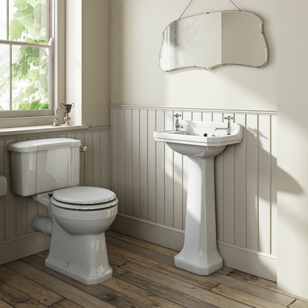The Bath Co. Camberley cloakroom suite with white seat and full pedestal basin 500mm