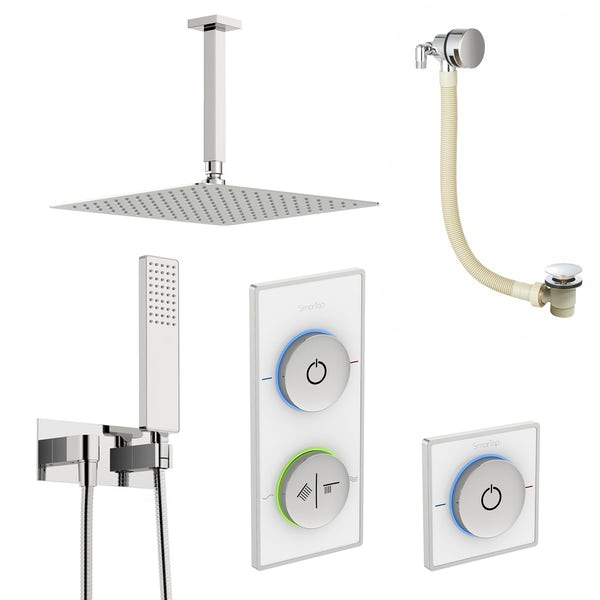 SmarTap white smart shower system with complete square ceiling shower outlet bath set