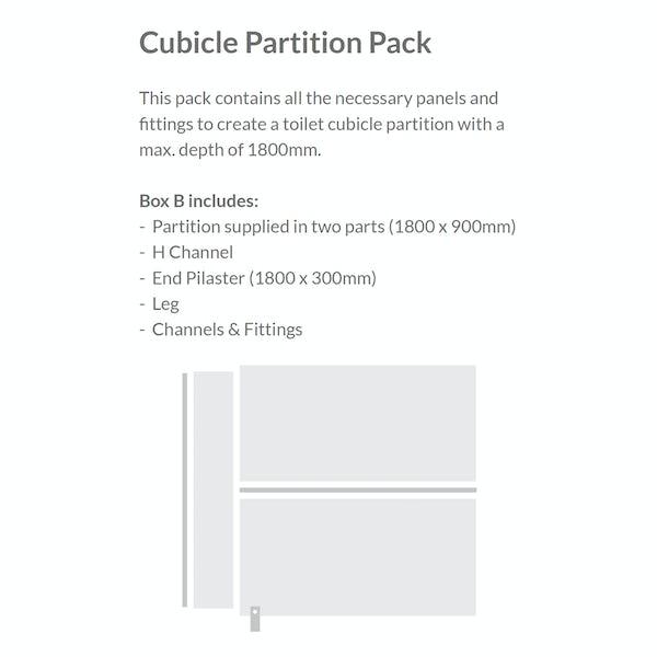 Pendle plain grey toilet cubicle partition pack