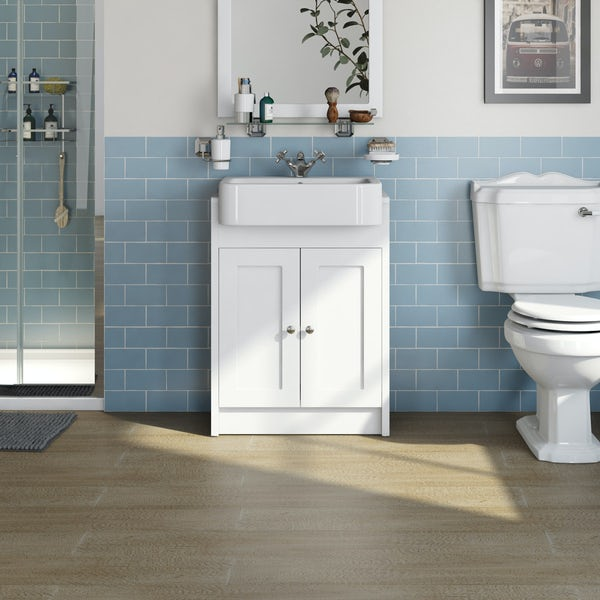 The Bath Co. Dulwich matt white floorstanding vanity unit with semi recessed basin 600mm