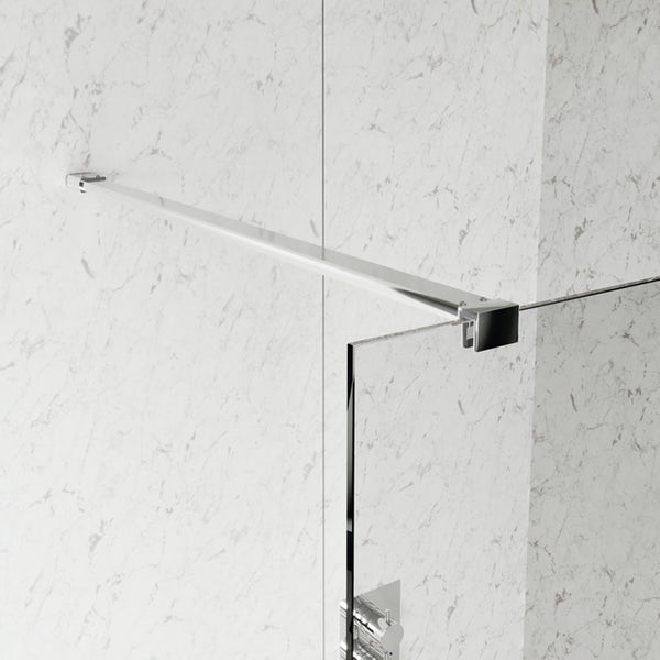 Mode 8mm wet room glass panel with overhead support bar