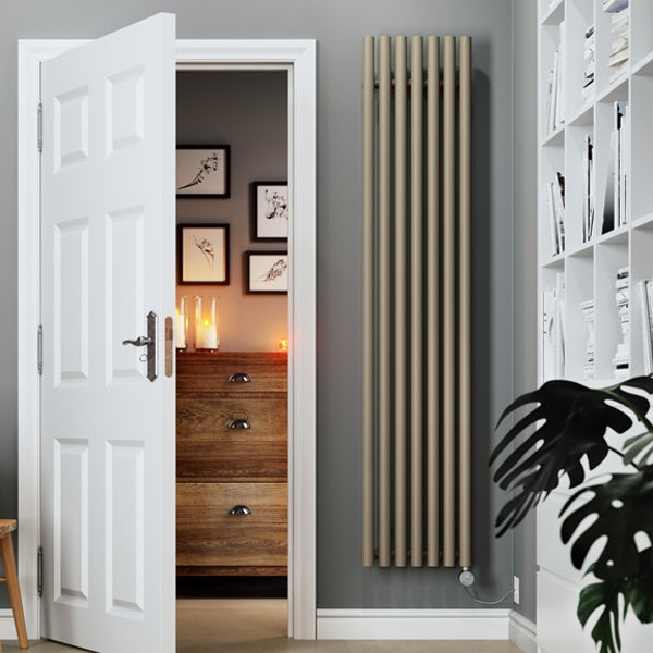 Terma Rolo Room E quartz mocha electric radiator with MOA Blue element - silver