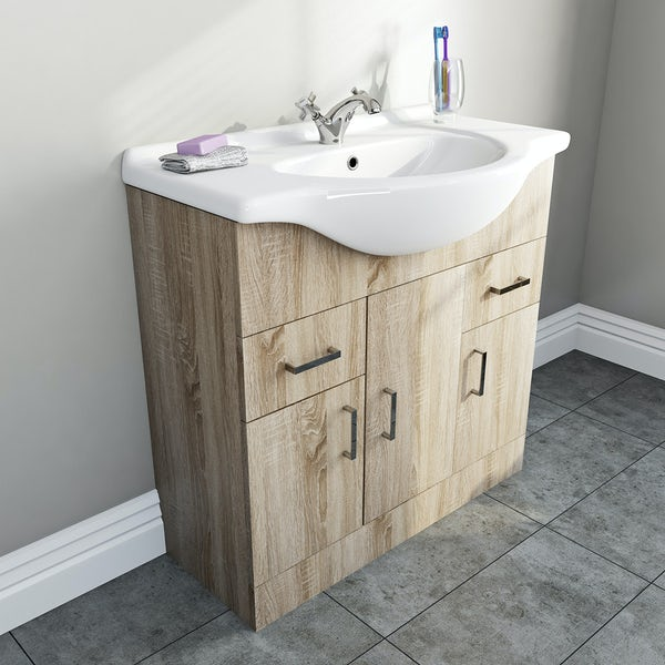 Sienna Oak Vanity Unit And Basin 850mm Victoriaplum Com
