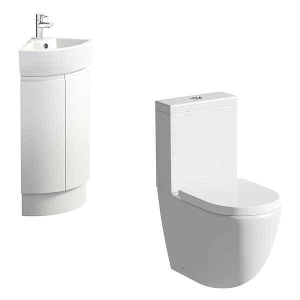 Mode Harrison snow corner cloakroom suite with rimless close coupled toilet