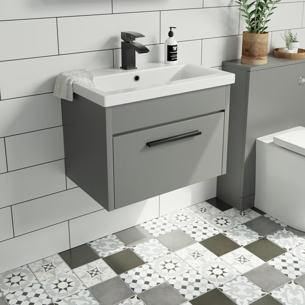 Clarity satin grey wall hung vanity unit and ceramic basin 600mm with tap and black handles