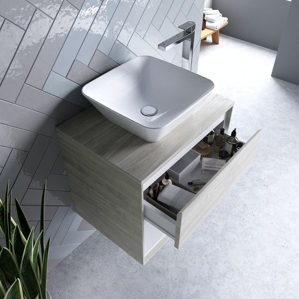 Ideal Standard Concept Air wood light grey and matt white countertop vanity unit and basin 600mm