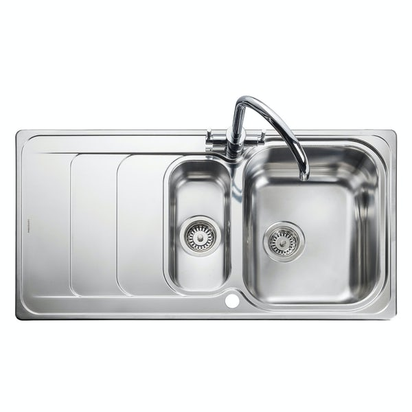 Rangemaster Houston 1.5 bowl reversible kitchen sink with waste kit