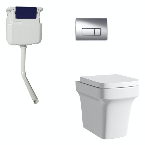 Mode Carter back to wall toilet with soft close seat, concealed cistern and push plate