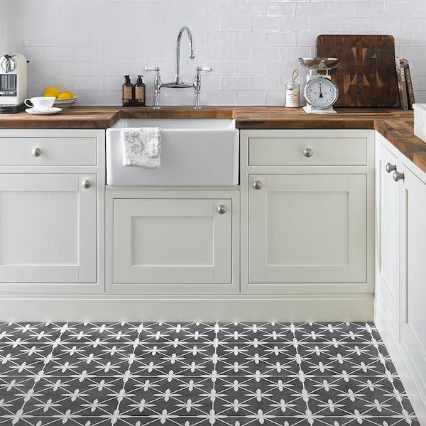 Laura Ashley Heritage Wicker Charcoal Grey Matt Tile 331mm