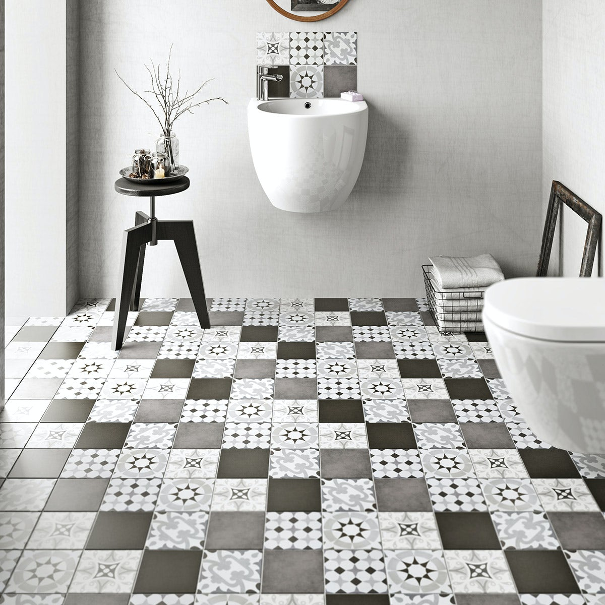 British Ceramic Tile Patchwork Pattern Grey Matt Tile