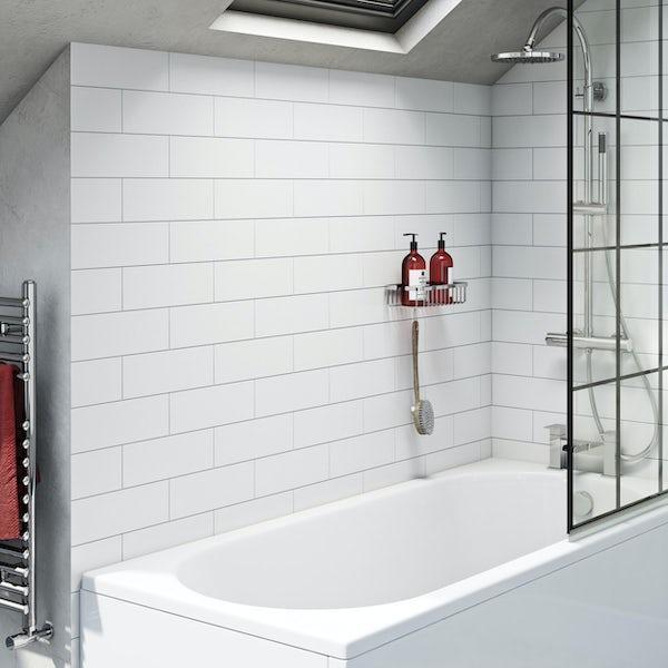 Pure white flat matt wall tile 100mm x 300mm