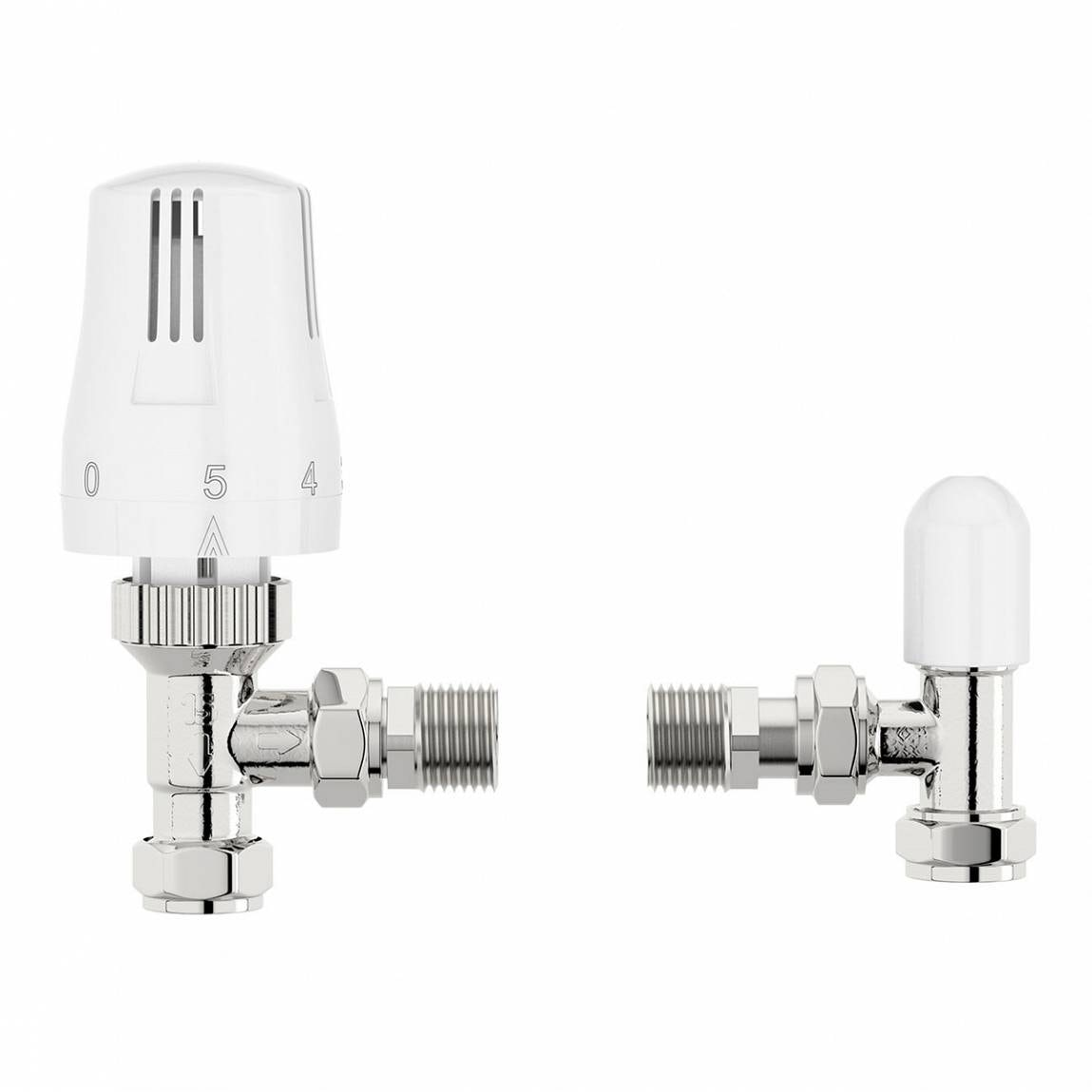 Thermostatic White Angled Radiator Valves