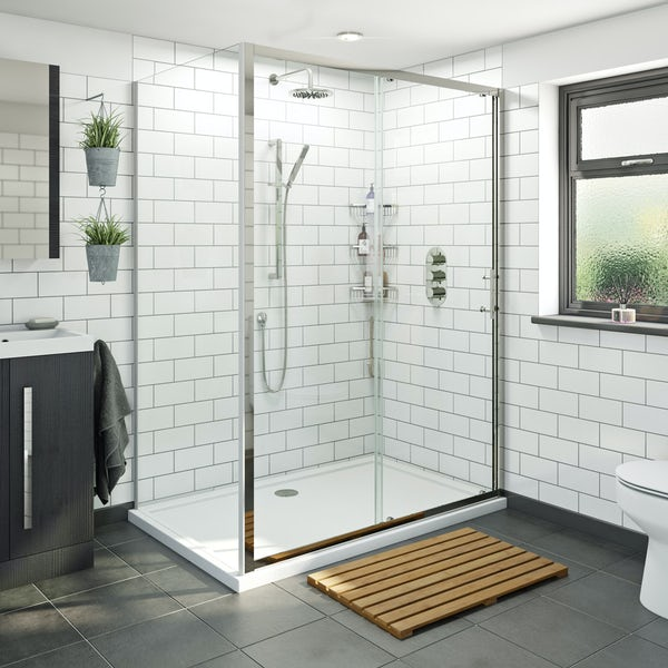 Orchard 6mm framed sliding shower enclosure offer pack
